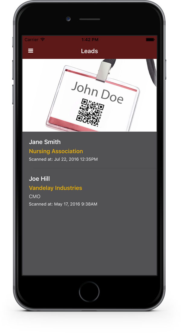 Scanning leads in the app
