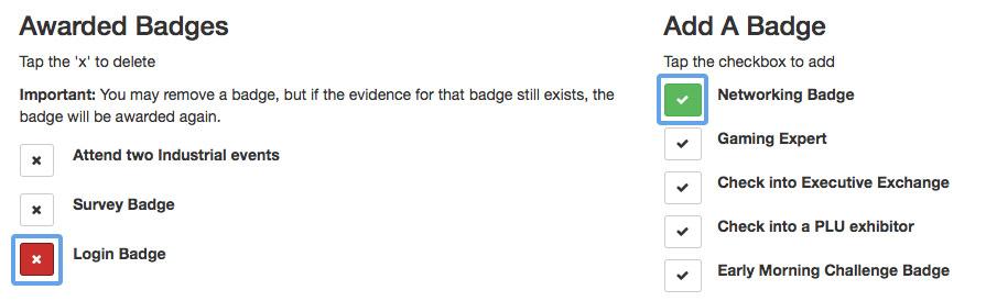 Attendee - edit badge awards