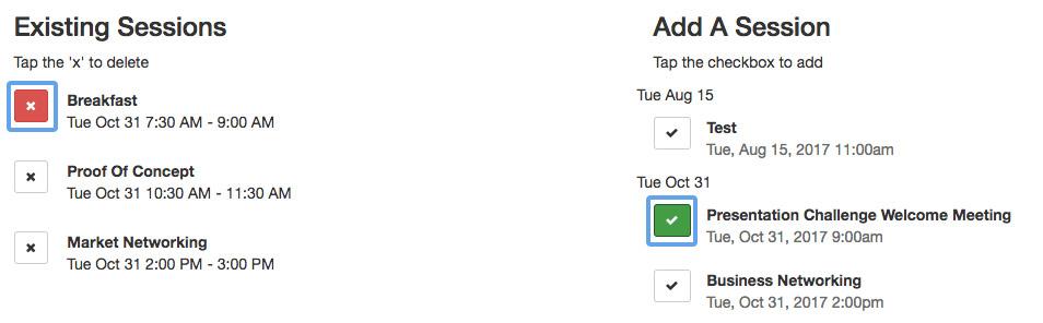 Attendee - edit attendee schedule