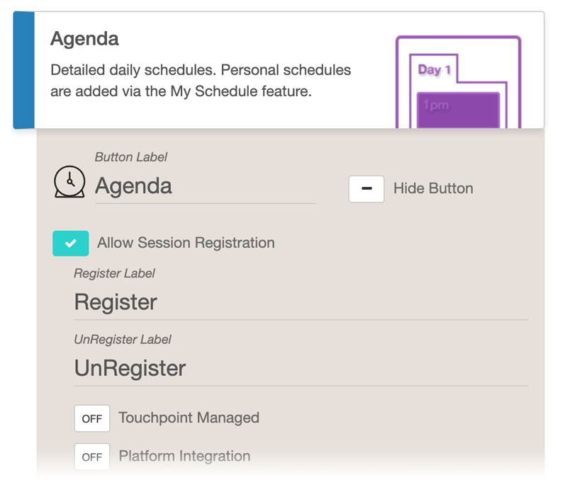 Agenda Feature Settings