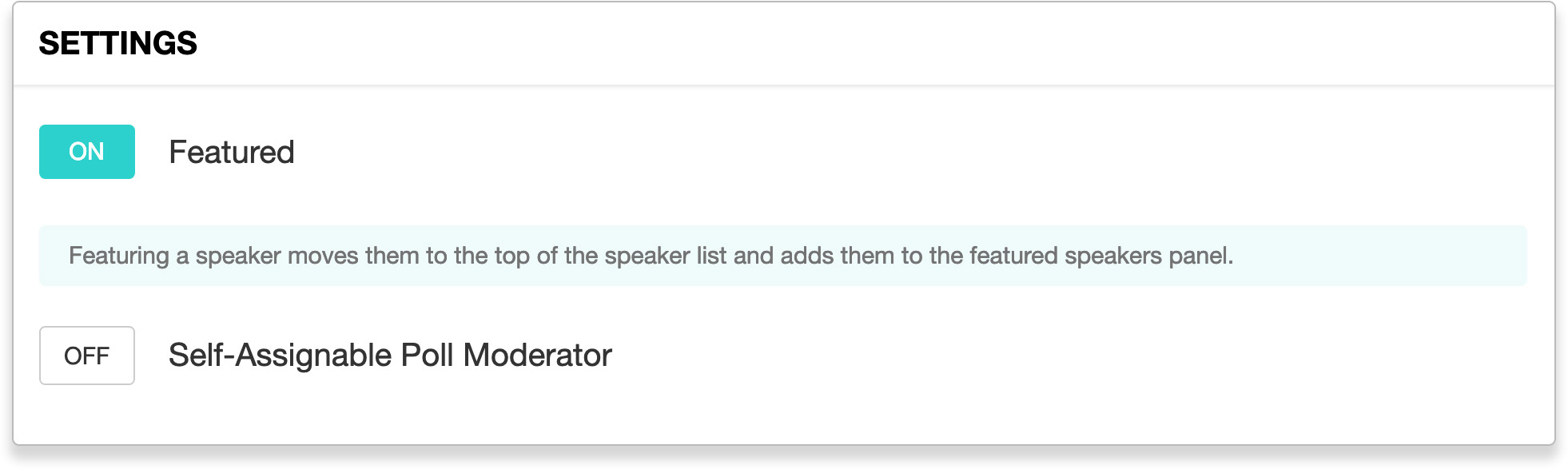 Featured Speaker toggle