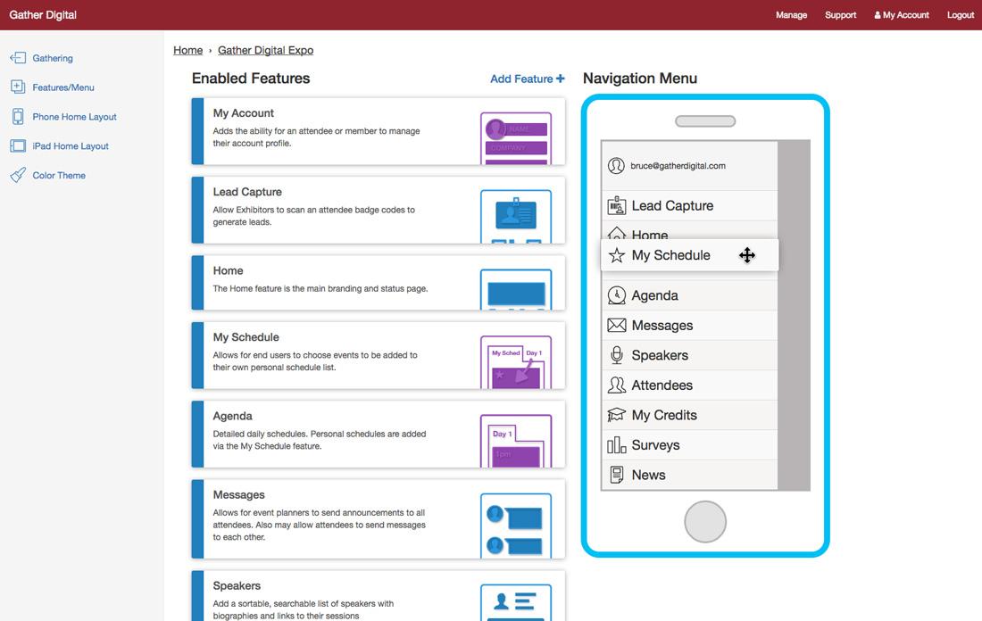 Image of reordering navigation menu