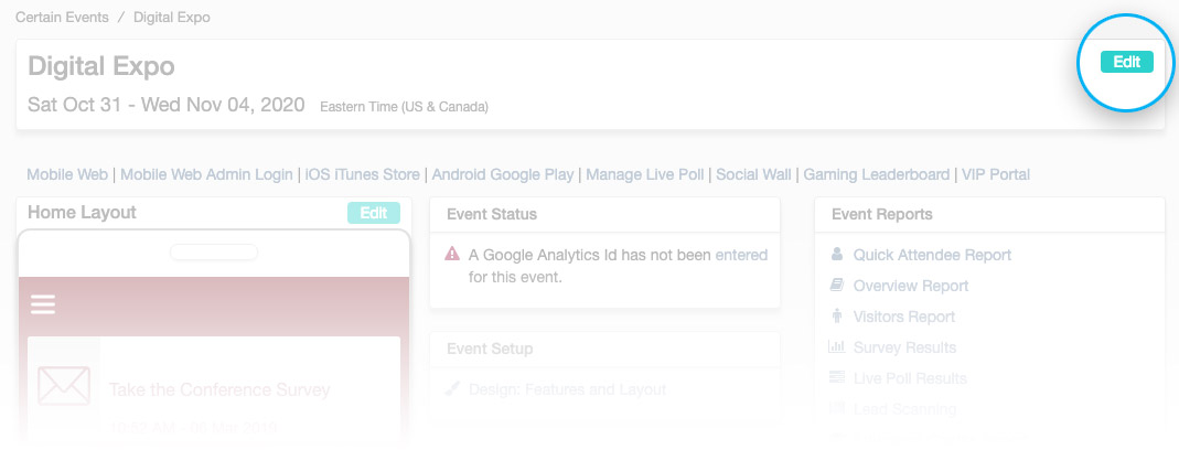Event landing page, edit button