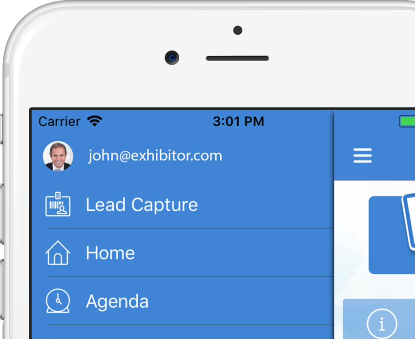 Picture of the lead capture button in app