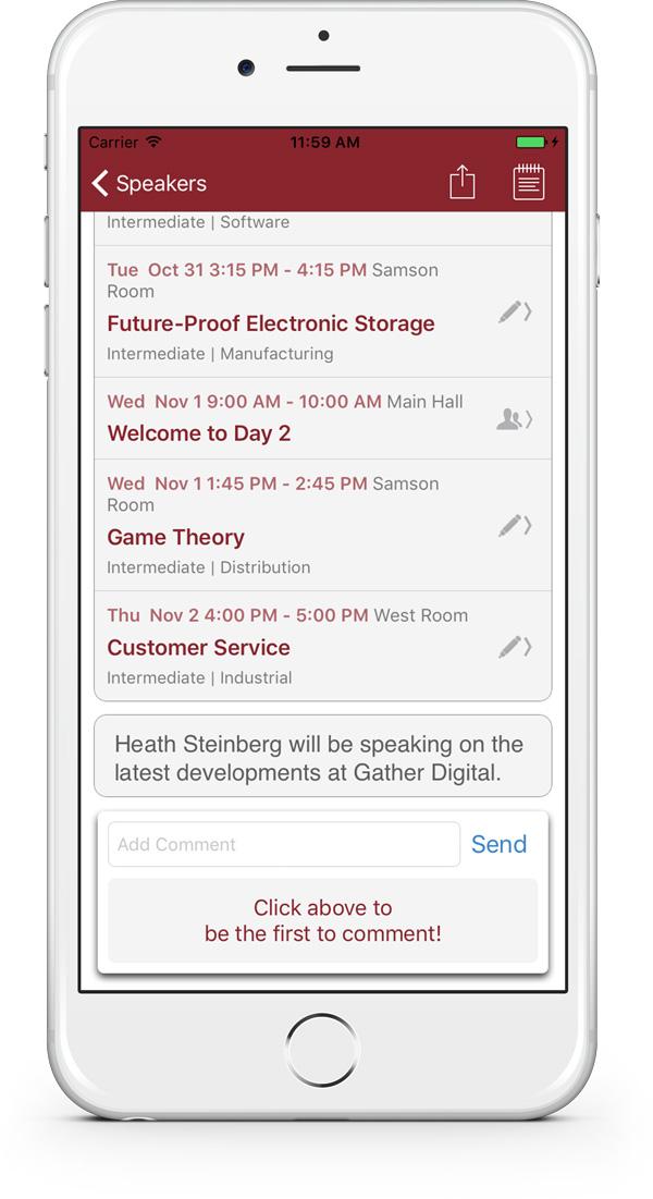 Speaker Profile in the app
