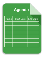 Agenda spreadsheet graphic